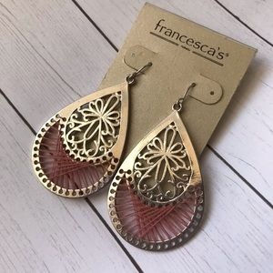 Silver Boho Threaded Earrings Teardrop